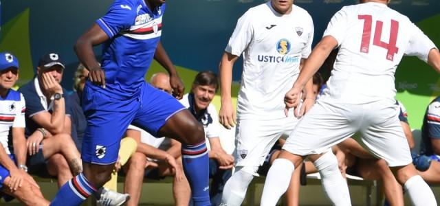 18-07-15 - Pinzolo (TN) - Amichevole : Sampdoria-Trapani 1-1   Okaka tra Nadarevic e Ciaramitaro
